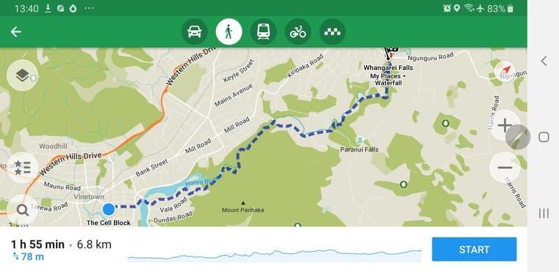 whangarei falls map