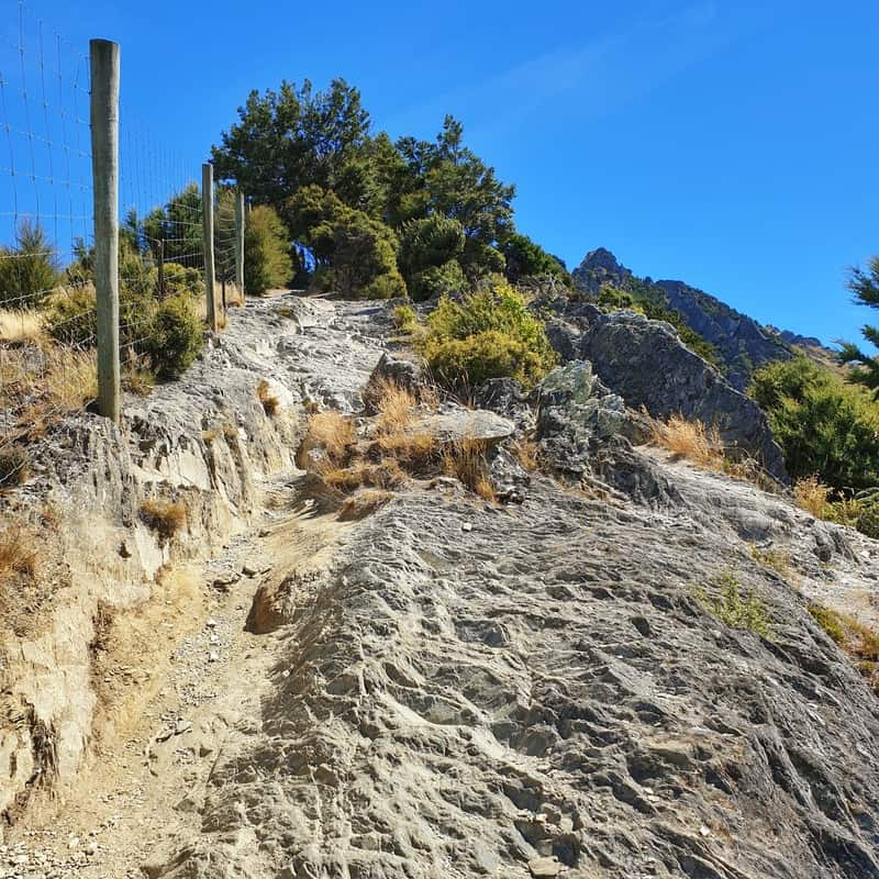 a part of the trail that is rocky