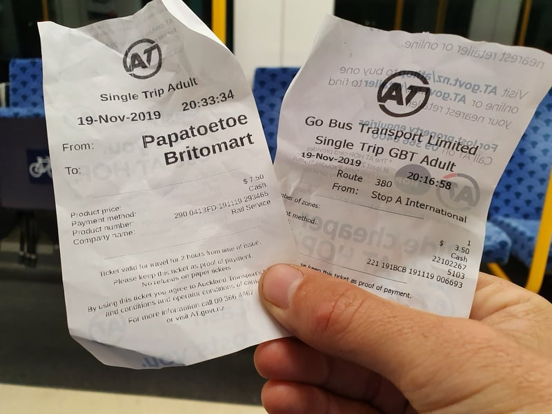 the tickets to get from Auckland Airport to Britomart via public transport