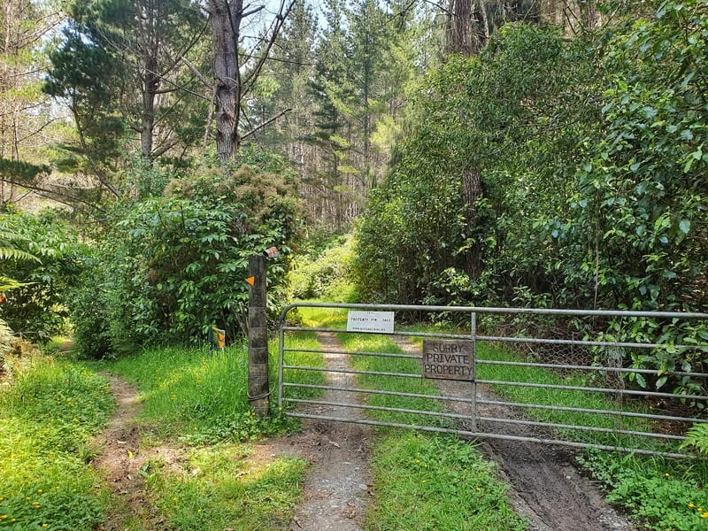 mangone track turn off to avoid private property