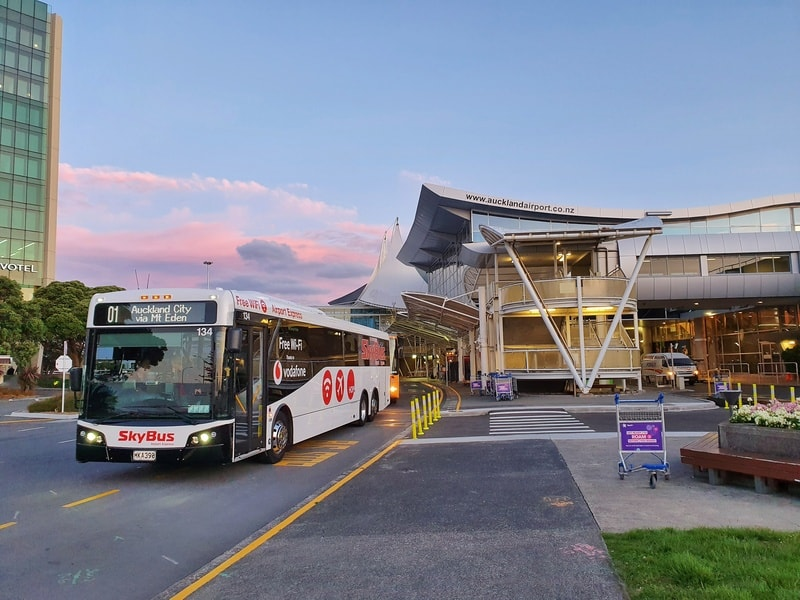 a picture of the skybus leaving the airport