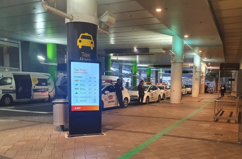 taxis lined up at Auckland Airport