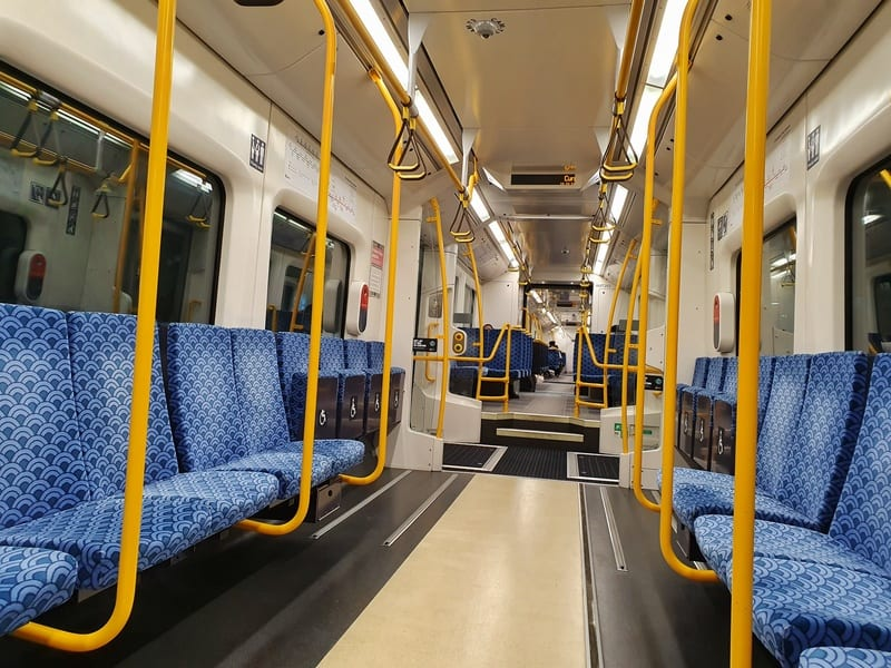 view inside the train between papatoetoe and britomart