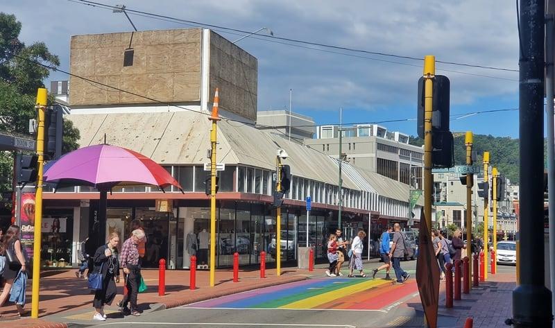 rainbow crossing on cuba street wellington