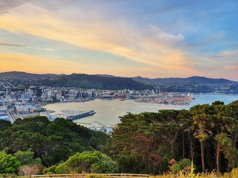 a sunset from the mount victoria lookout with a view of the wellington harbour and city
