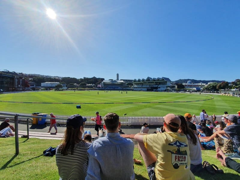 people watching cricket at the basin reserve