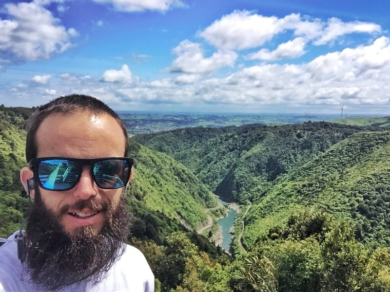 man taking selfie with the gorge in the background