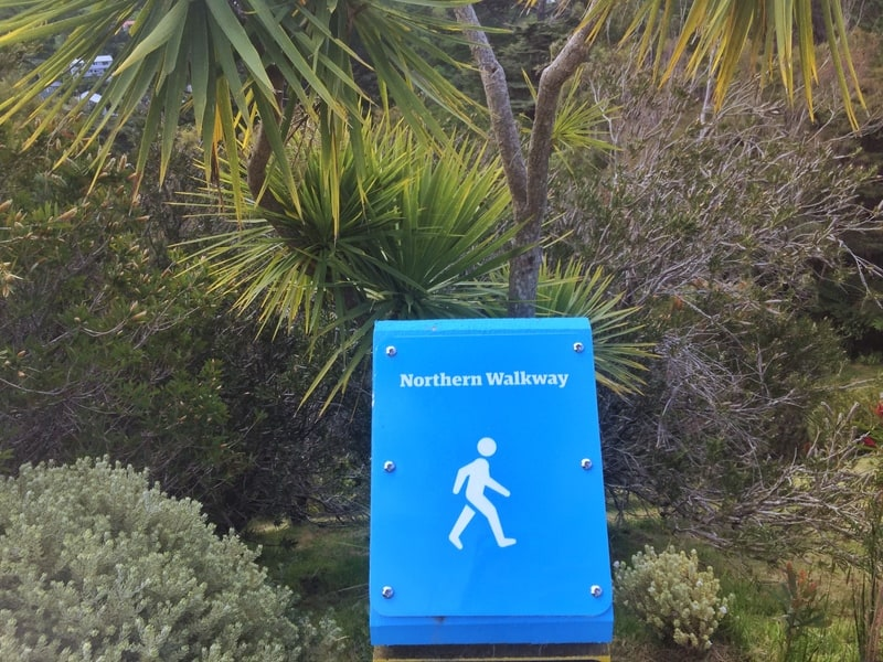 blue northern walkway trail marker