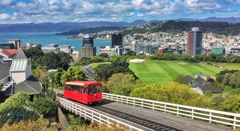 view from above the cable car in wellington