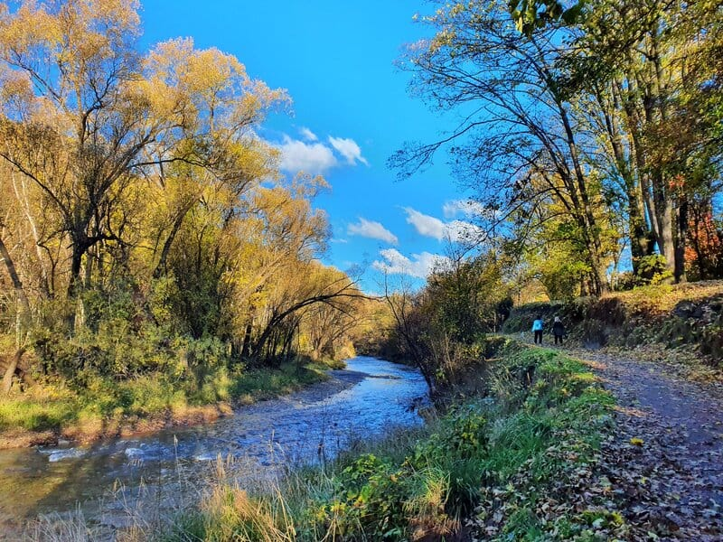 the arrowtown river trail in autumn