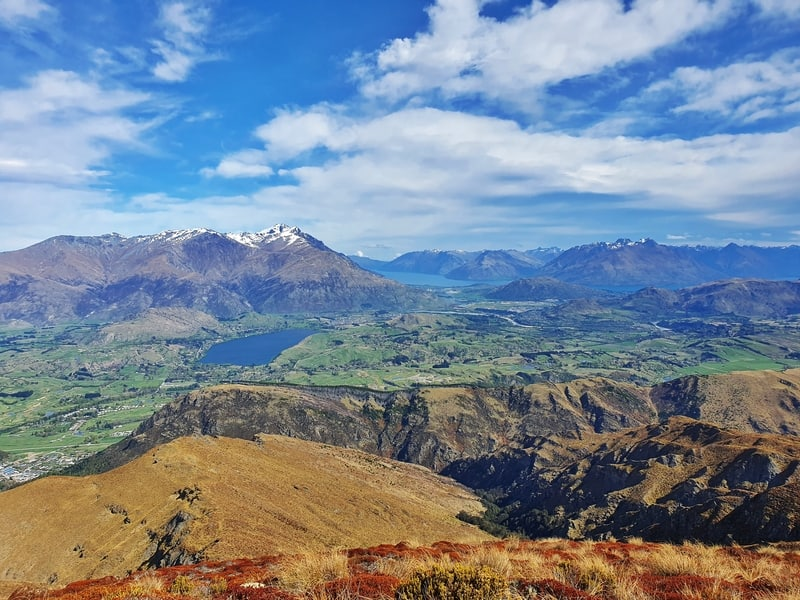 views over arrowtown and queenstown from the summit of the brow peak track
